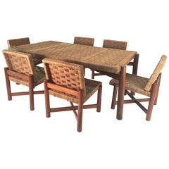 Woven Dining Set in the Style of Charlotte Perriand