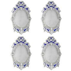 Oval Venetian Blue Ribbon Mirrors