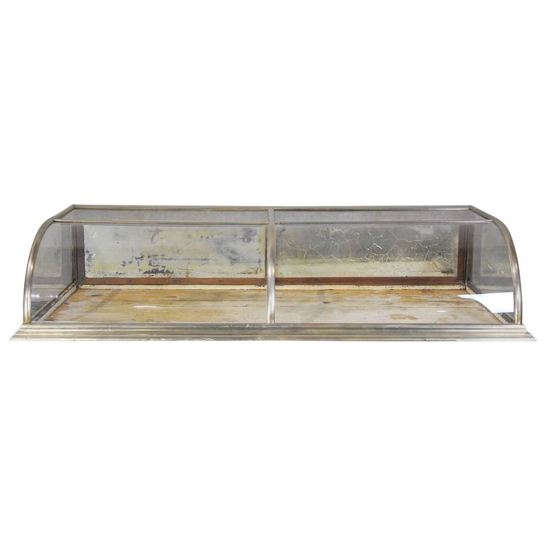 Curved Glass Counter Top Nickel Showcase Display At 1stdibs