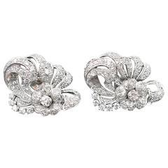Pair of Platinum European Cut Diamond Earrings 3.5 TW