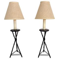 Pair of 1970s Frederick Cooper Faux Bamboo Table Lamps