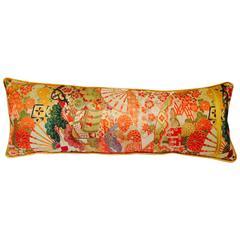 Vintage Japanese Silk and Velvet Obi Pilllow