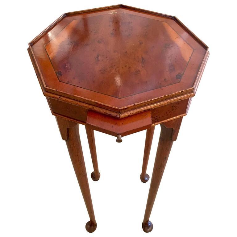 Beautiful Octagonal Burl Wood Side or Drinks Table