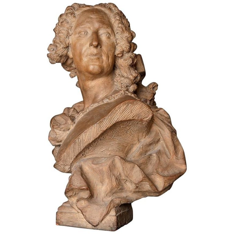 18th Century French Terracotta Bust of a Man For Sale