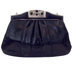 Judith Leiber Black Lizard Skin Bag with Semi-Precious Stone Clasp