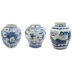 Collection of Three Chinese Export Blue and White of Large Scale