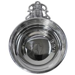 Open Wide for Kitty Cat: American Sterling Silver Porringer with Fluff Ball Puss