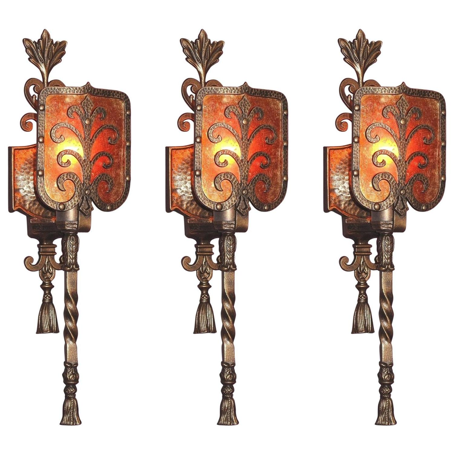 1920s Spanish Bungalow Plans: 1920s Spanish Revival Sconces With New Mica Priced Each At