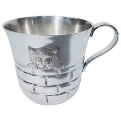 Tiffany Peak-a-Boo Kitty Cat Sterling Silver Baby Cup