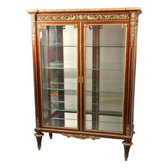 19th Century Finely Casted Gilt Bronze-Mounted Louis XVI Style Vitrine
