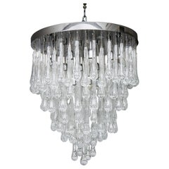Murano Glass Chandelier with Led Bulbs and Device for Adjusting Glass Color