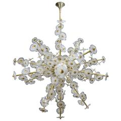 Glamorous Chandelier in Brass and Murano Glass