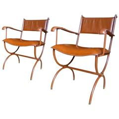 Jacques Adnet Pair of Armchairs in Hand-Stitched Brown Leather