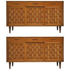 Pair of Dunbar Woven-Front Credenzas by Edward Wormley