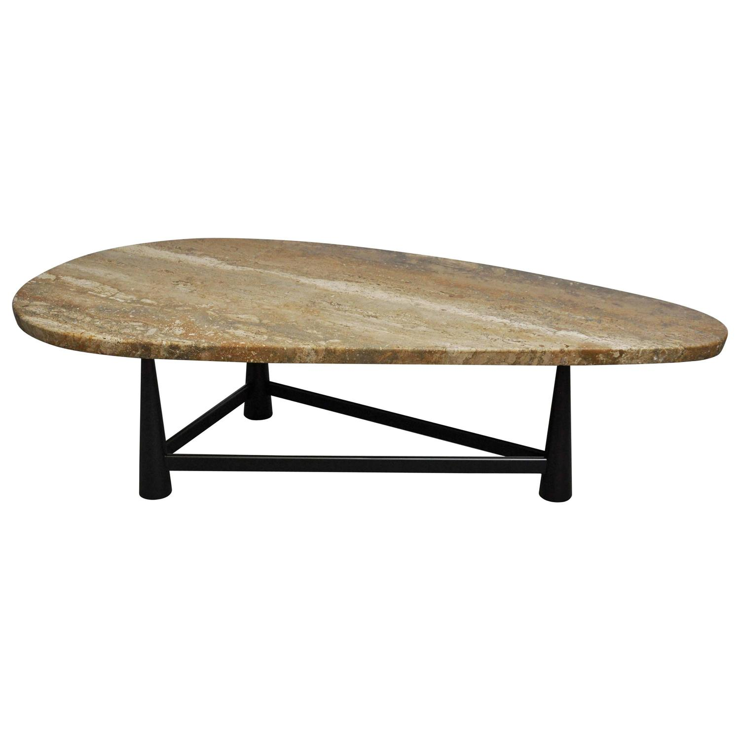 Rare Dunbar Travertine Coffee Table by Edward Wormley For Sale at