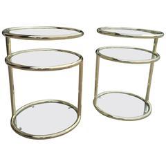 Milo Baughman Style Brass Finish Swivel Side Tables