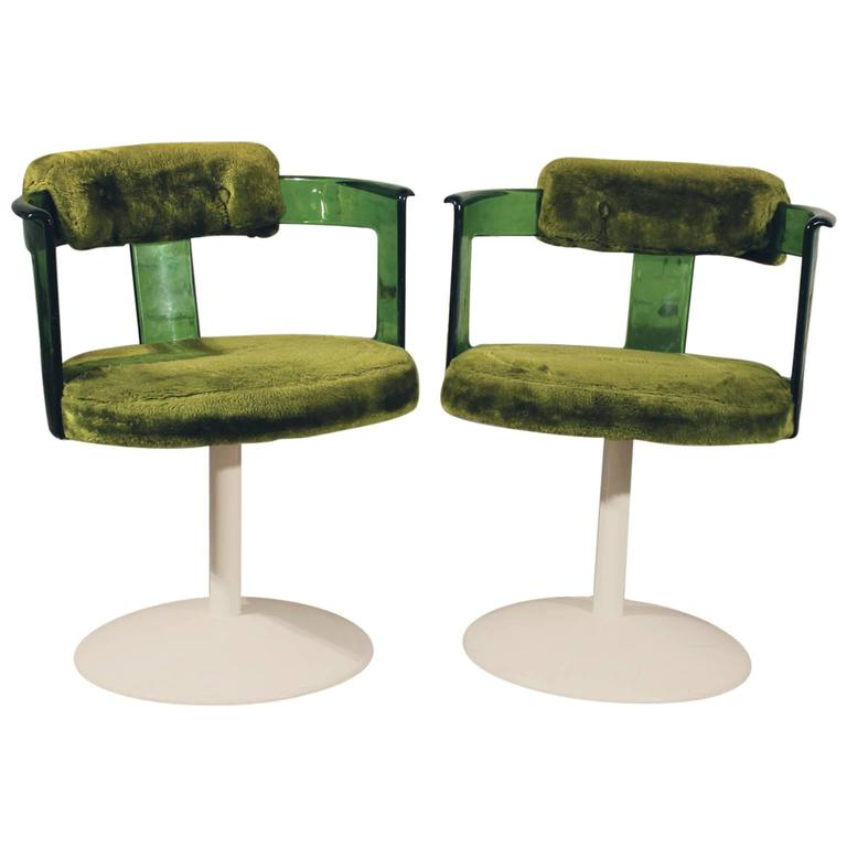Green Lucite Mod Tulip Chairs By Daystrom Circa 1970
