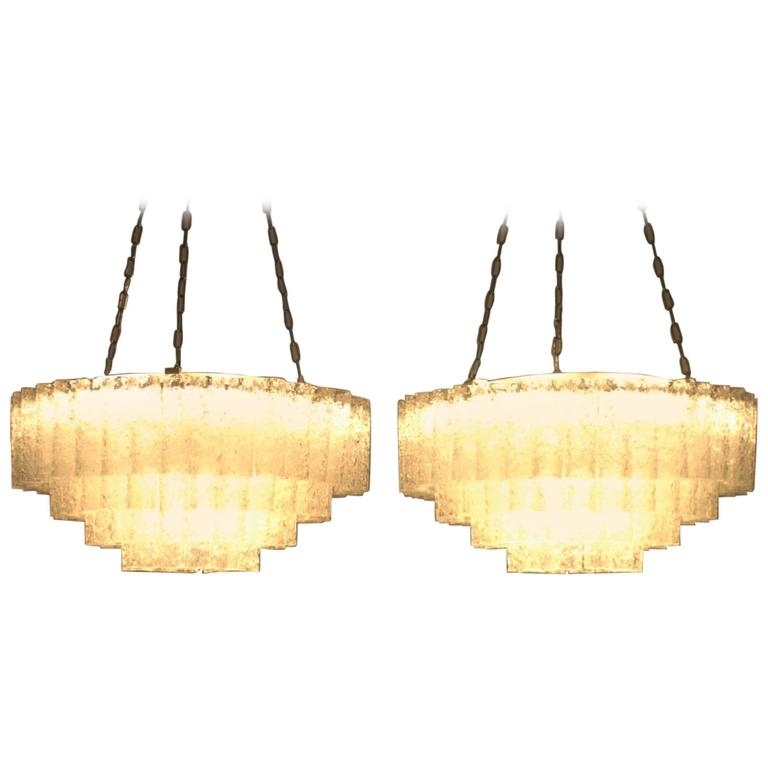 Pair of Large Doria Ice Glass Flush Mount Chandelier, Germany, 1960s