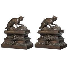 Pair of Bronze Fox Sculptures