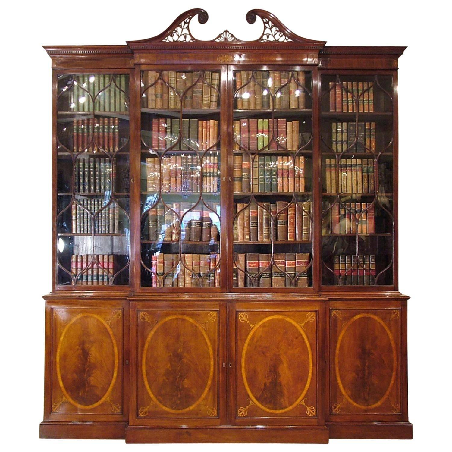 18th Century English Breakfront Mahogany Library Bookcase