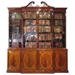 18th Century English Breakfront Mahogany Library Bookcase