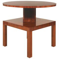 1930s Art Deco Cubist Side Table, walnut, marquetry - France