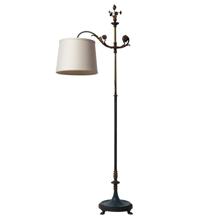 Sterling bronze co bridge arm bronze floor lamp circa for Floor lamp 2 arms