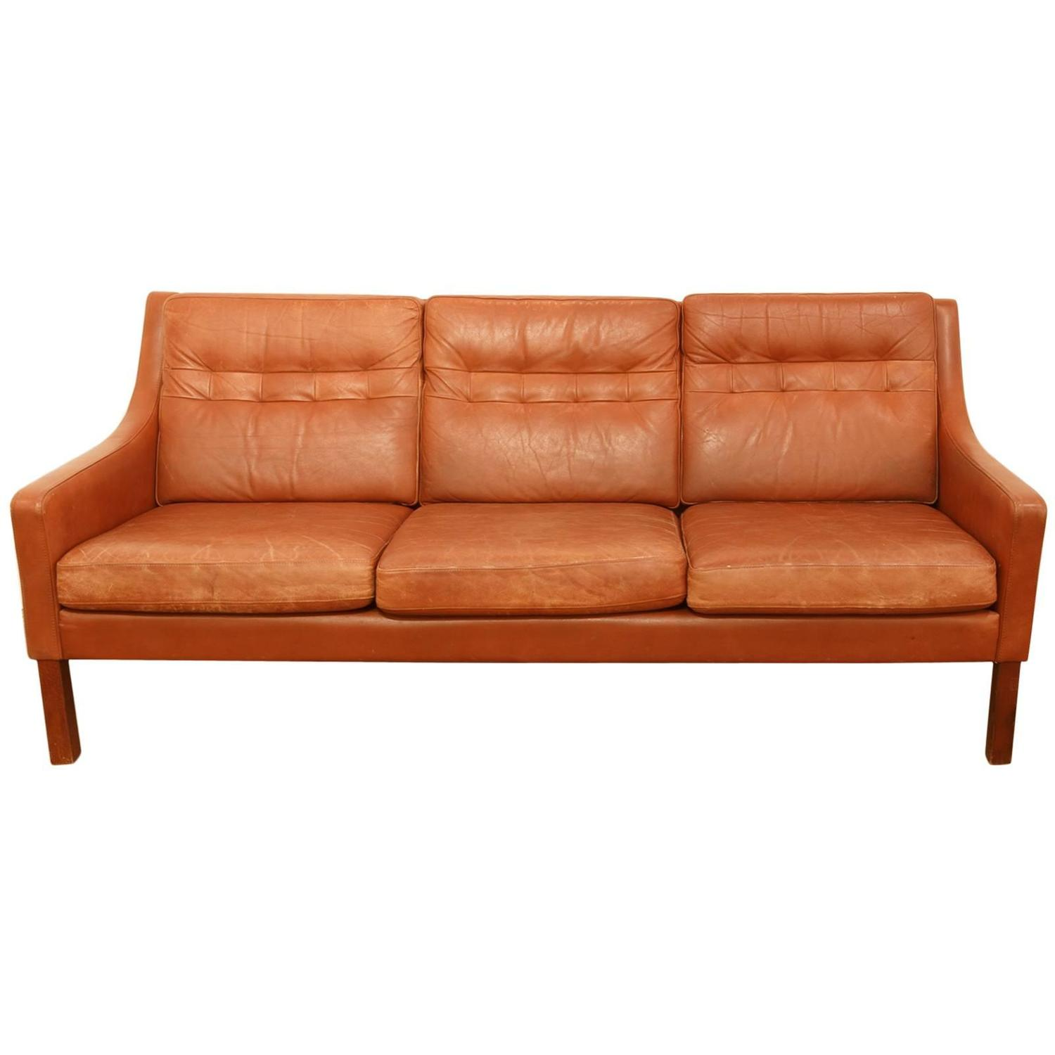 1960s cognac leather sofa after b rge mogensen 2213 at. Black Bedroom Furniture Sets. Home Design Ideas