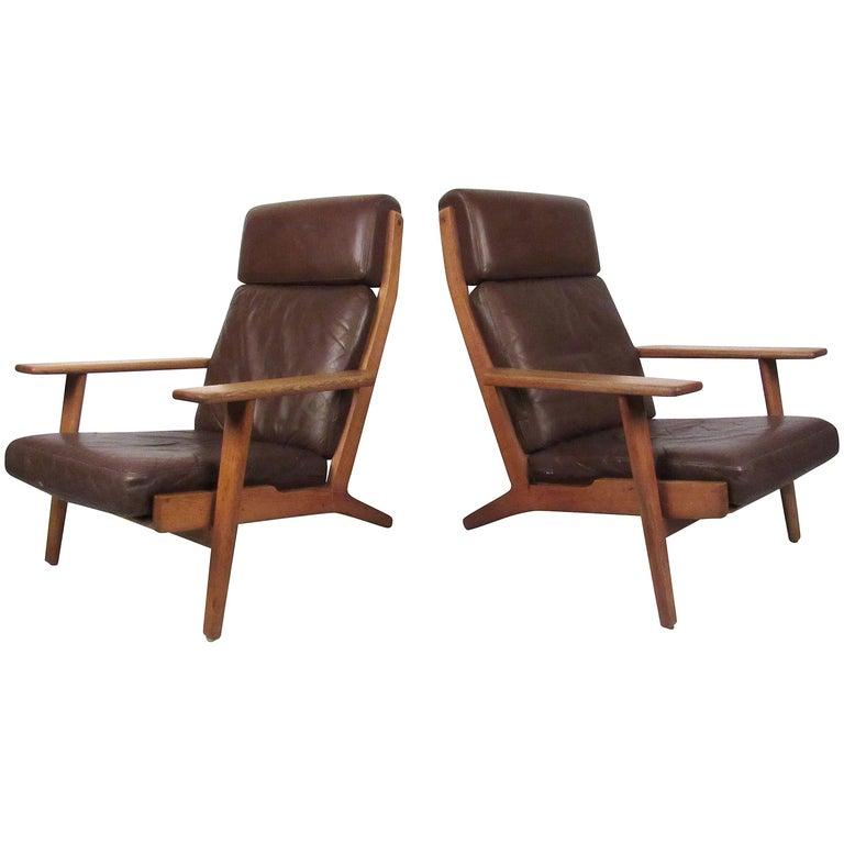 Pair Hans Wegner Highback Lounge Chairs for GETAMA, GE-290 For Sale