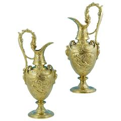 Outstanding Quality and Very Large Pair of Victorian Silver-Gilt Claret Jugs