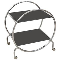 Art Deco  Hungarian Round Chrome/ Glass Bar Cart