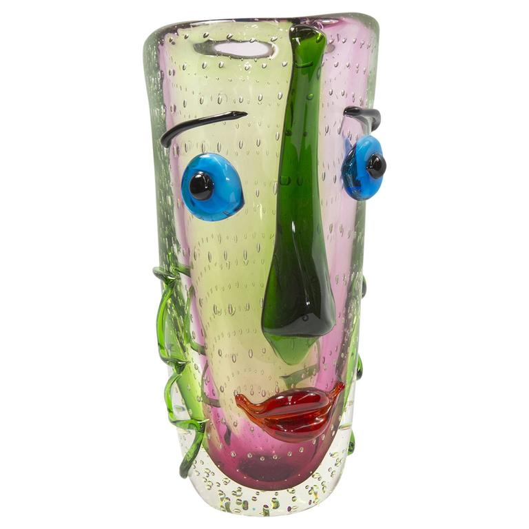 Large Murano Multicolored Abstract Picasso Face Art Glass Vase At