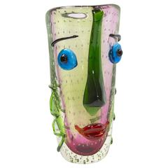 Large Murano Multicolored Abstract Picasso Face Art Glass Vase