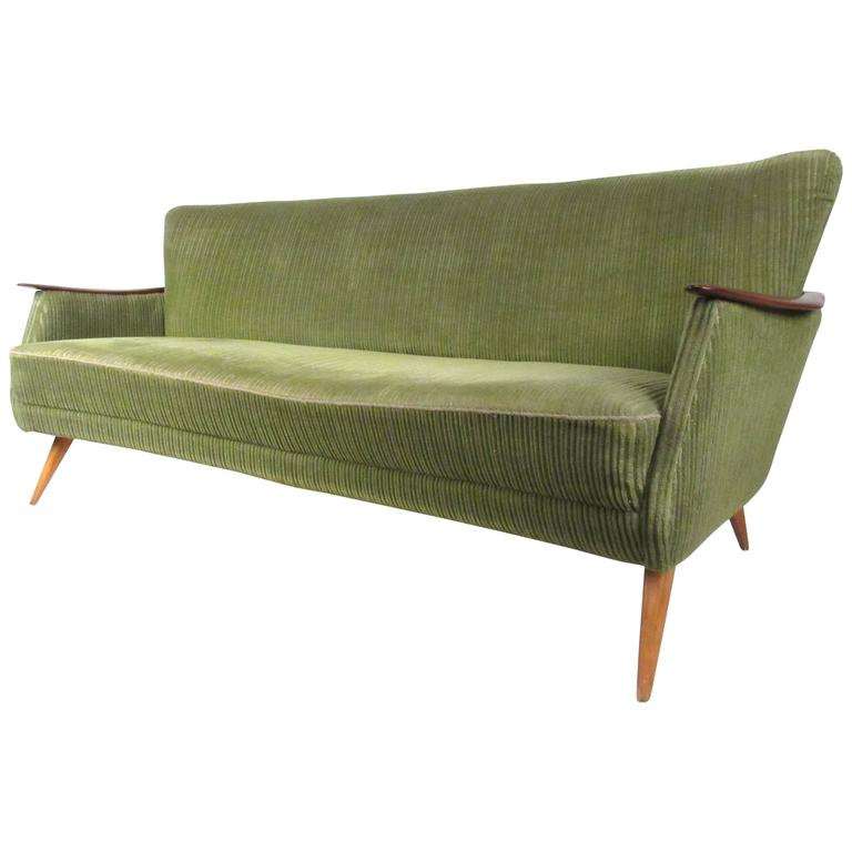 scandinavian modern sofa with wood arms for sale at 1stdibs. Black Bedroom Furniture Sets. Home Design Ideas