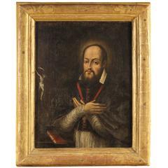 "17th Century Oil on Canvas Painting ""St. Francis de Saras"""