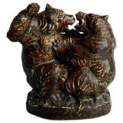 Figure of Two Fighting Bears by Knud Kyhn for Royal Copenhagen