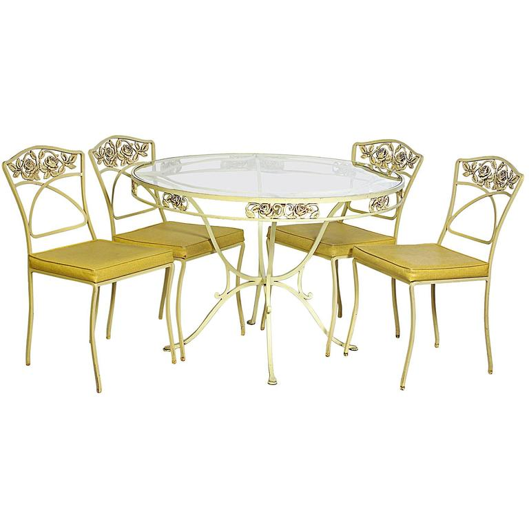 Five-Piece Salterini Wrought Iron Dining Set At 1stdibs