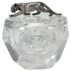 Large Lucite Ice Bucket with Silver Tiger