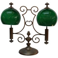 Antique Brass and Emerald Glass Double Light Library Lamp