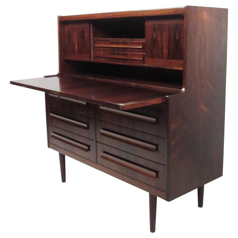 Mid Century Danish Rosewood Drop Front Secretary Desk For