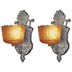 Pair of 1920s-1930s Vintage Slip Shade Sconces