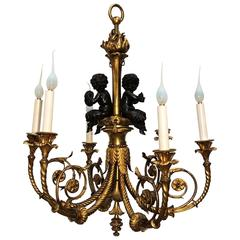 Wonderful French Doré Bronze Patinated Cherubs Putti Chandelier Fixture