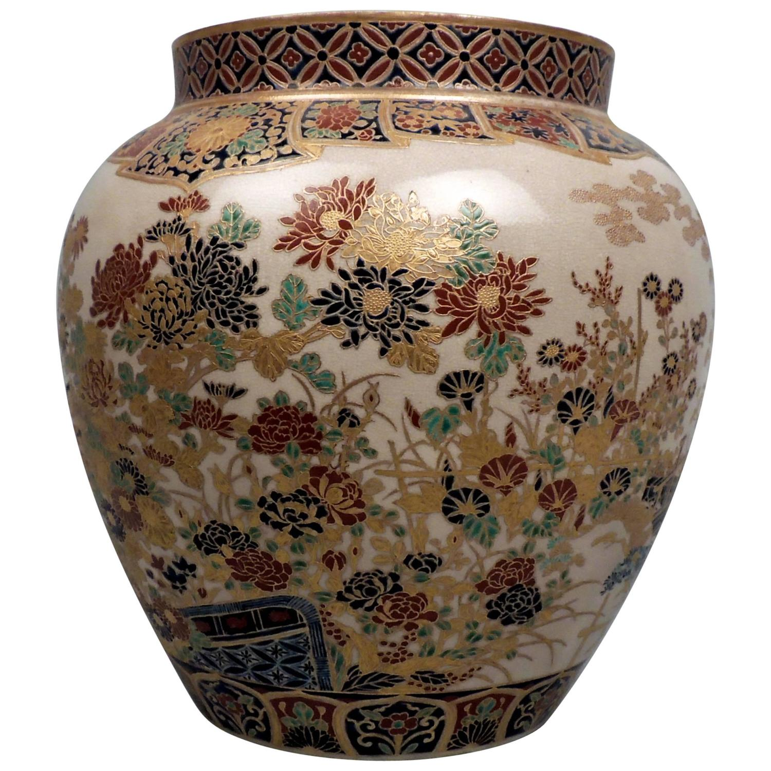 Large 19th century signed japanese imperial satsuma pottery vase large 19th century signed japanese imperial satsuma pottery vase with gosu blue for sale at 1stdibs reviewsmspy
