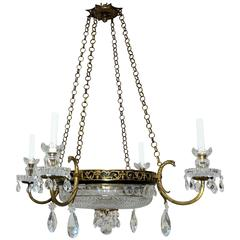Elegant French Empire Bronze Patinated and Crystal Neoclassical Chandelier