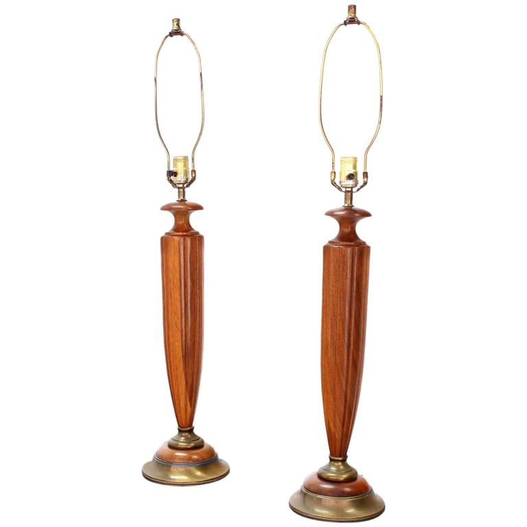 Pair of Heavy Carved Walnut and Brass Mid-Century Modern Table Lamps