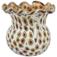 Diminutive Millefiori Murano or Venetian Art Glass Red and White Vase