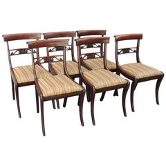 Set of Six Early 19th C English Regency Mahogany Dining Chairs