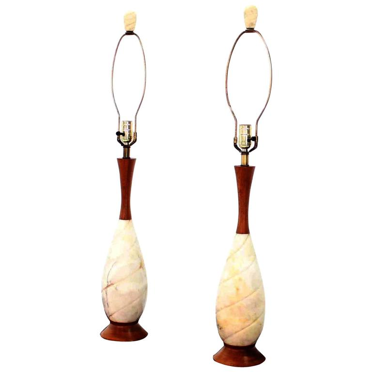 Pair of Carved Onyx and Walnut Mid-Century Modern Table Lamps