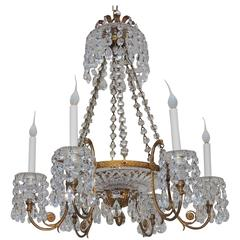 Fine French Doré Bronze Cut Crystal Bowl Neoclassical Empire Chandelier Fixture