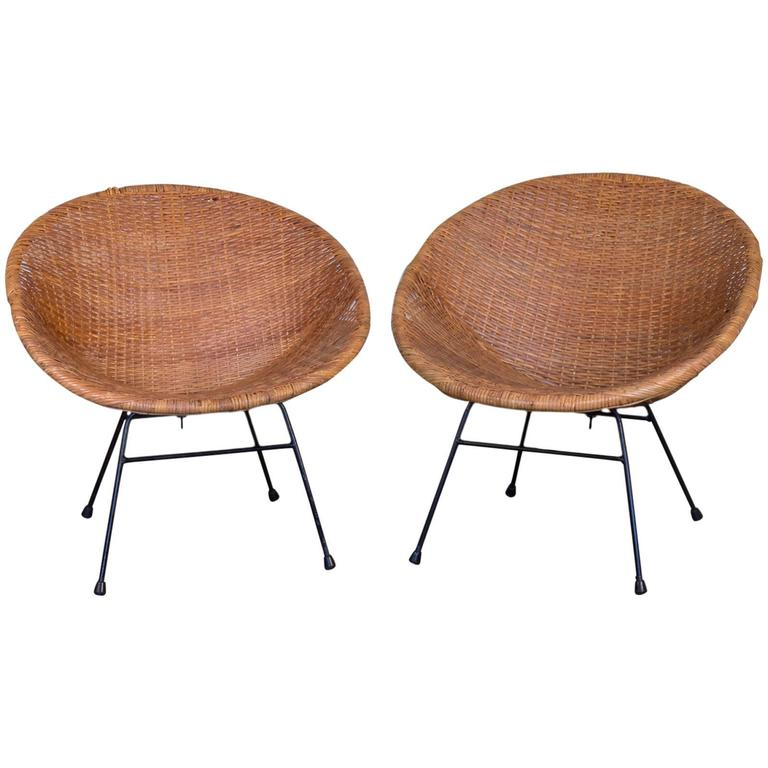 Perfect Pair Of Mid Century Rattan Scoop Chairs For Sale